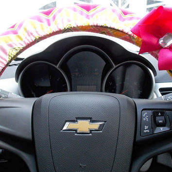 Chevron Steering Wheel Cover Pink Green Yellow Chevron Car Accessories