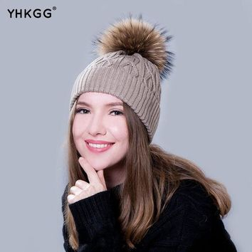 DCCKJG2 YHKGG  In 2016 The Real Practical Fur Hats During The Winter Hot Young Boys and Girls Pom Fur Fur Hat Pompom