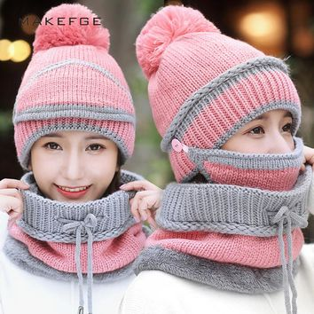 Men's Ski Hats Scarf Winter Knit Warm Glove Sets Mask caps Bib Mask Three-piece Solid Color Men's and Women's Universal beanie