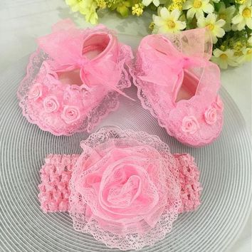 DCCKL3Z Kids flowers Shoes  Girl Princess Lace Headband Cute Infant Girl Toddler Shoes Set Newborn Photography Props 5TX14