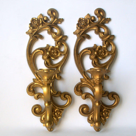 VINTAGE GOLD DECOR Fancy 1960s Hollywood Regency Scroll Taper Candle Holder Sconces Mid Century Wall Hanging Homco Sconce Pair