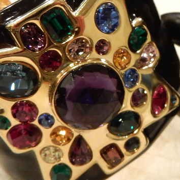 Gorgeous Vintage (Kenneth Jay Lane) Wide Black  Enamel Jewelled Cuff