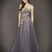 Smoke Bead Embellished Strapless Drop Waist Tulle Couture Gown - Unique Vintage - Homecoming Dresses, Pinup & Prom Dresses.