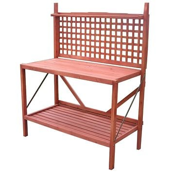 Outdoor Folding Wooden Potting Bench Garden Trellis with Storage Space