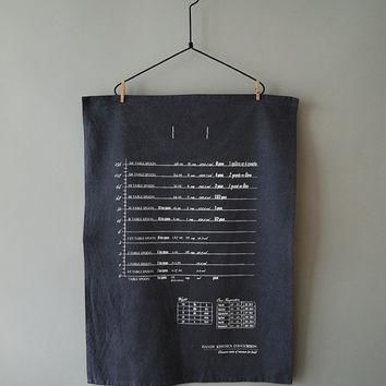 handy kitchen conversion chart tea towel white on washed blue