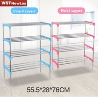 2016 New 2-6 Layers Tier Stainless Plastic Shoes Rack Organizer Stand Shelf Holder Unit Black Light Shoe Rack