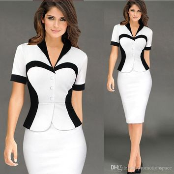 2017 New Vintage White Black Short Sleeves Women Pencil Dresses Work Casual Party Elegant Fitted Sheath Bodycon Dresses Office OL FS0350