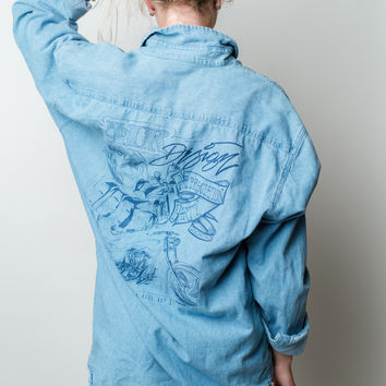 Denim Motorcycle Graphic Button Up