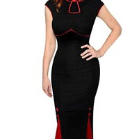 Senfloco Women's Vintage Colorblock Party Cocktail Mermaid Wiggle Dress