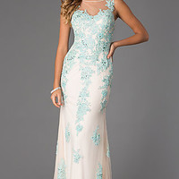 Floor Length Sleeveless Lace Embellished Dress by Dave and Johnny