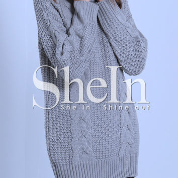 Grey Turtleneck Cable Knit Loose Sweater