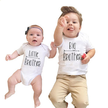 2017 Babies Brothers Matching Clothing Little Baby Boy Bodysuit Big Brother T-shirt Tops Letters Clothes