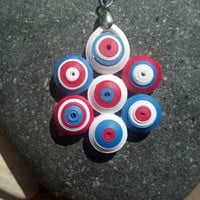 Red White and Blue Necklace - 4th of July necklace, Independence Day necklace, American flag necklace, patriotic necklace, paper quilling