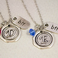 Two Best Friends Necklaces - Wax Seal BFF Charm Necklaces - Personalized Birthstone Jewelry - Custom Monogram Jewelry - Best Friend Gift