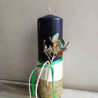 Christmas pillar candle, navy blue Xmas candle with schinus twig, electroplated mastic tree twig on pillar candle with ribbons and glitter