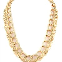 DaisyGem | Chunky Thick Twisted Gold Double Link Chain Choker Necklace