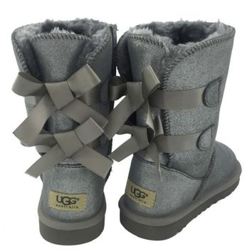 2018 Original UGG Fashion Winter Women Cute Bowknot Flat Warm Snow Ankle Boots