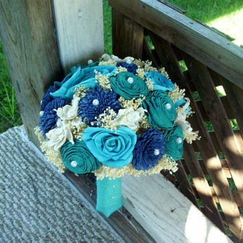 Navy turquoise and teal bridal bouquet, sola bouquet, rustic wedding, rustic bouquet, beach wedding, beach bouquet, wedding bouquet