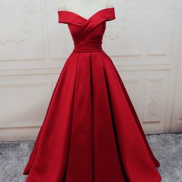 Burgundy Prom Dresses Off-the-shoulder Satin Long Evening Dress Hot Formal Gowns J6980