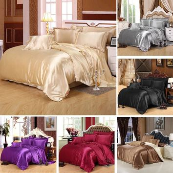 Sleep in style—and comfort—with this silky satin bedding set. Includes duvet cover, bed sheet and 2 pillowcases.