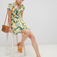Glamorous Button Down Tea Dress In Banana Print at asos.com