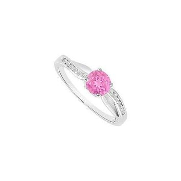 Pink Sapphire and Diamond Engagement Ring 14K White Gold  0.75 CT TGW