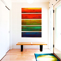 WOW 'Solidarity in 5' Large A Wall Sculpture Original Large Painted Wood Wall Sculpture Abstract Original