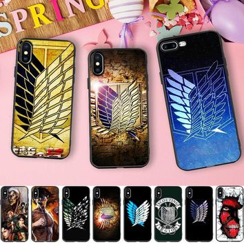 Cool Attack on Titan Japanese Anime Cartoon Case for iPhone 6s Case  Wings Soft Silicone Case for iPhone X 7 5 5S SE 6 8 plus AT_90_11