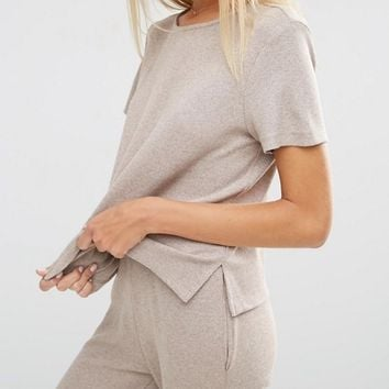 ASOS LOUNGE Ribbed Tunic T-Shirt with Side Splits at asos.com