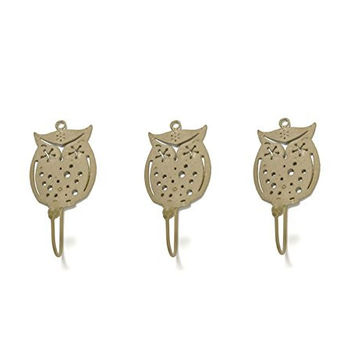 Wise Owl Metal Wall Hook - Light Gold - Set of 3