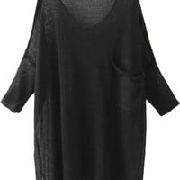 Black V-Neck Pocket Detail Semi Sheer Knit Blouse