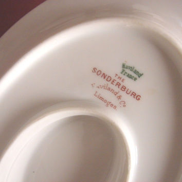 Haviland Co,white China  Limoges,Sonderburg,Gravy boat w/attached plate