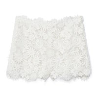 Bianco Flower Mix Guipure Short by Valentino for Preorder on Moda Operandi