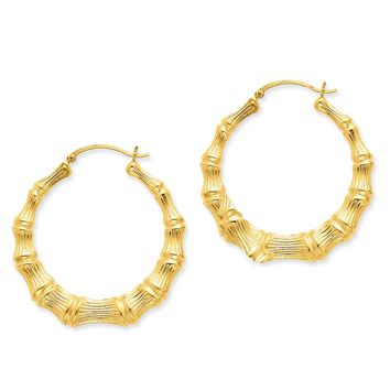 8mm x 42mm 14k Yellow Gold Polished Hollow Bamboo Hoop Earrings