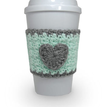 Crochet Heart Coffee Cup Cozy in Mint Green and Gray
