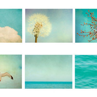 Set of Six 5x7 prints. 'Blue' Original Fine Art Photography. sky, clouds, yellow, blue, turquoise, wall art, flower photo, treem, dandelion