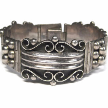 Wide Ornate Vintage Panel Bracelet Mexican Sterling 7.5 Inches