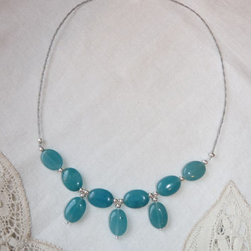 Necklace - Teal or Blue Green Quartzite, Hand Crafted, Summer Jewelry