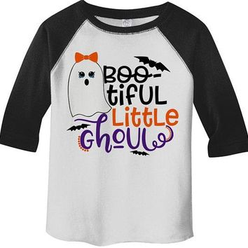 Girl's Boo Tiful Halloween T shirt 3/4 Sleeve Raglan Shirts Cute Ghoul Ghost Shirts