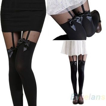 New Vintage Sexy Cute Stockings Pantyhose Tattoo Mock Bow Suspender Sheer Tights = 1932898436