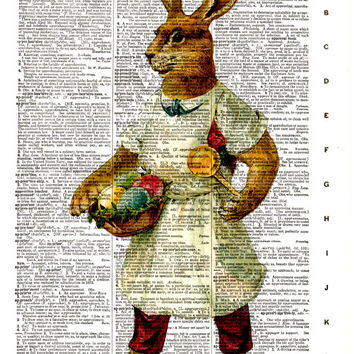 Easter Bunny Rabbit, Colored Eggs - Vintage Dictionary Art Print - Page Size 8.5x11