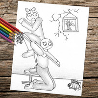 Printable coloring page, Adult Coloring Page, Instant download coloring, Boy and Girl Fight Bug, coloring page, coloring book for adults