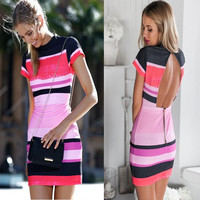 Back Zipper Short Sleeve Striped Bodycon Mini Dress