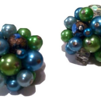 JAPAN stamped Lime GREEN Blue AB Crystal Pearls Cluster Clip on Earrings Vintage