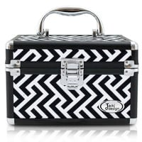 Geometric Print Makeup Organizer Train Case Black
