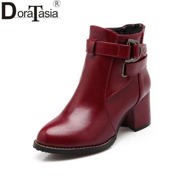 DoraTasia Women Fashion Square Med Heels buckle Ankle Chelsea Boots