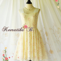 A Party Princess - 90s Vintage Inspired Dress Vanilla Lace Dress Butter Prom Party Dress Wedding Bridesmaid Dress Tea Dresses Custom Made