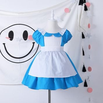 Alice In Wonderland Costume Dress Lolita Baby Dress Maid Cosplay Carnival Costumes For Kid Children