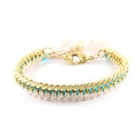 Celebutante Bracelet In Beige and Bright Turquoise