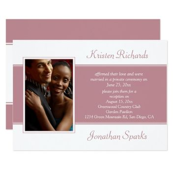 #3Pink Green Leaves Photo Garden Reception Wedding Card